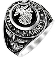 New Menand039s Antiqued 0.925 Sterling Silver Us Marine Corps Usmc Military Ring