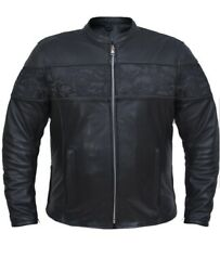 Menand039s Motorcycle Premium Leather Jacket With Reflective Skulls Concealed Carry