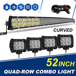 Curved 52inch + 4pcs 4inch 7152W Led Light Bar Flood Spot Combo Offroad SUV 4WD