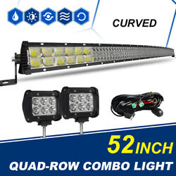 Curved 52inch + 2PCS 4inch Led Light Bar Flood Spot Combo Offroad SUV 4WD PK 50