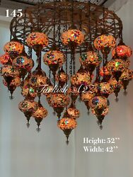 Turkish Mosaic Chandelier With 37 Large Globes Id 145