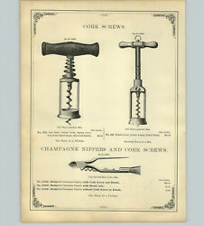 1890 Paper Ad 8 Pg Cork Screws Pocket Wire Wooden Convex Clouch's Magic French