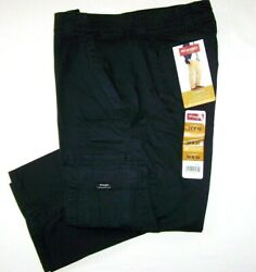 Menand039s Wrangler Flex Cargo Pants Relaxed Fit Black Tech Pocket All Sizes 32-54