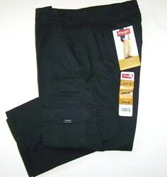 Menand039s Wrangler Flex Cargo Pants Relaxed Fit Black Tech Pocket All Sizes 34 - 54