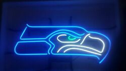 New Seattle Seahawks Logo Neon Light Sign 17x14 Beer Cave Gift Lamp