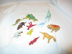 1960and039s-70and039s Marx/timee/ Misc Prehistoric Playset Dinosaurs Large Group Of 11