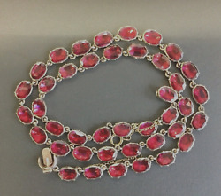 Victorian Antique Yellow Gold Foil Backed Garnet Necklace Brilliant Red