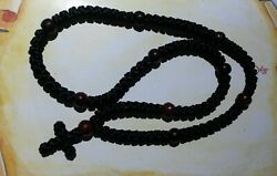Orthodox Prayer Rope Black Satin With Natural Red Horn Beads 100 Knot