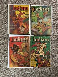 Indians 6, 12, 15, 16 Comic Books Fiction House, Golden Age Pre-code Lot Of 4