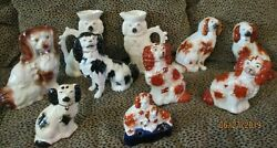 Lot Of 11 Early English Antique Staffordshire King Charles Spaniel Dog Figurines