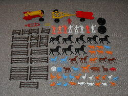 Vintage 1970s Mpc Lot Of 80 Plus Farm Animals, Figures And Vehicles