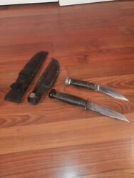 Lot Of 2 1916 Marbles Gladstone Fixed Blade Hunting Knife Camillus Usn Knives