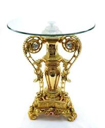 D Baroque Style Gilt Table With Glass Top On Three Sided Base With Crystals