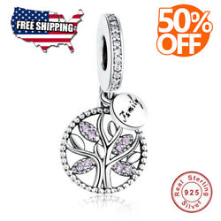 Authentic Family Charms Bead 925 Sterling Tree Of Life Crystal Pandora Bracelet