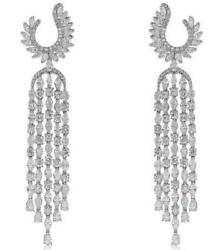9.48CT DIAMOND 18KT WHITE GOLD 3D ROUND & MARQUISE CHANDELIER HANGING EARRINGS