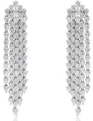 11.40CT DIAMOND 18KT WHITE GOLD 3D CLASSIC MULTI ROW CHANDELIER HANGING EARRINGS