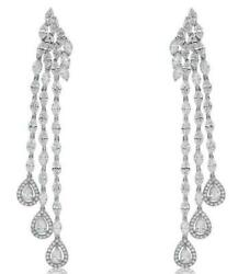 10.41CT DIAMOND 18KT WHITE GOLD 3D MULTI SHAPE 3 ROW TEAR DROP HANGING EARRINGS