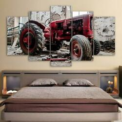 Old Vintage Antique Tractor Framed 5 Piece Canvas Wall Art Painting Wallpaper Po