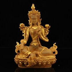 9 Chinese Old Antique Be Unearthed Crystal Gilt Green Tara Buddha Statue