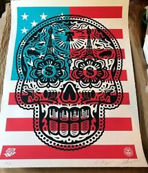 Obey Shepard Fairey Power And Glory Day Of The Dead Skull Large Format- And039merica Ap