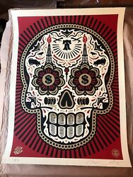 Obey Shepard Fairey Power Glory Day Of The Dead Skull Large Format Red And Gold Ap