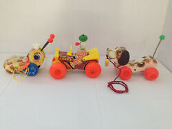 Fisher Price Pull Toy Lot 3 Jalopy, Queen Buzzy Bee, Little Snoopy 1960's