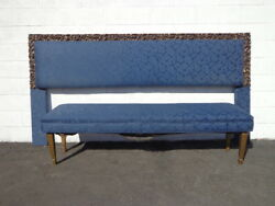 2pc Headboard Bench Upholstered Bed King Size Blue Navy Archlace Hollywood Glam