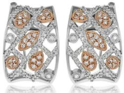 Wide 1.05ct Diamond 14kt White And Rose Gold Multi Shape Huggie Hanging Earrings