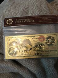 1863 United States Treasury 100 Dollar 24kt Gold Foil Banknote