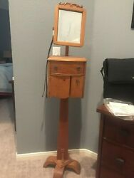 Antique Oak Shaving Stand With Mirror
