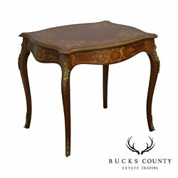 Antique French Louis Xv Style Mahogany Marquetry Inlaid Side Table