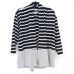 Onque Casuals Womens Large Topper Jacket Cardigan Striped Open Front Stretch