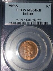 1909 S 1c Indian Cent Rb Pcgs Ms64 Red Brown Beauty Looks More Red Than Bn