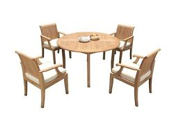 A-grade Teak 5pc Dining 52 Round Table 4 Lagos Arm Chairs Set Outdoor Patio