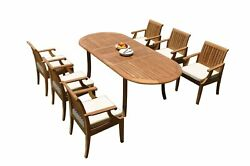 A-grade Teak 7pc Dining 94 Oval Table 6 Lagos Arm Chairs Set Outdoor Patio