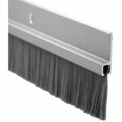 Door Bottom Sweep, Clear Anodized Aluminum With 1andquot Gray Nylon Brush Insert,