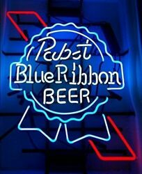 New Pabst Blue Ribbon Neon Light Sign 17x14 Beer Cave Gift Lamp Bar Glass