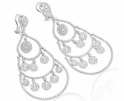 EXTRA LARGE 11.24CT DIAMOND 18K WHITE GOLD TEAR DROP CHANDELIER HANGING EARRINGS