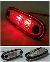 2x 24v Flush Fit Led Red Side Tail Marker Lights Truck Trailer Lorry Chassis Cab