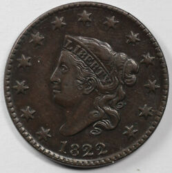 1822 1c Coronet Or Matron Head N-4 Large Cent Unslabbed