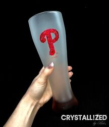 Crystallized Phillies Pilsner Glass 23oz Made With Genuine Crystals Bling Mlb