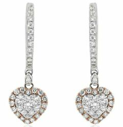.77ct White And Pink Diamond 18kt White And Rose Gold Heart Shape Hanging Earrings