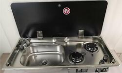 Boat Rv 2 Burner Gas Stove Sink Combo With Glass Top 30.514.45.9/4.7 Gr-904ls