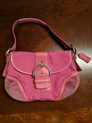 Coach 6818 Pink Fuchsia Signature Jacquard Suede Hobo small purse shoulder bag $19.99