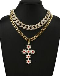 Rose Ruby Iced Cross 18mm 18 And 12mm 20 Miami Cuban Choker Necklace Combo 3433