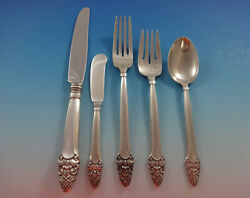 Sovereign Old By Gorham Sterling Silver Flatware Set 42 Pieces Stylized Acorn