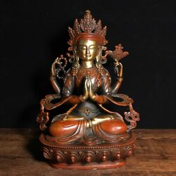 9 Chinese Old Antique Bronze Gilt Sitting Four Arms Guanyin Buddha Statue F3