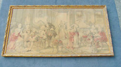 Tapestry Court Scene Ornate Frame Large Very Old From Europe Vintage Cloth Nice