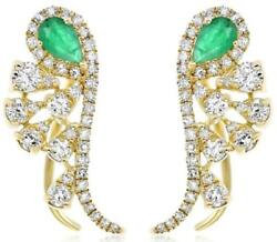1.24ct Diamond And Aaa Emerald 14k Yellow Gold Multi Leaf Clip On Hanging Earrings