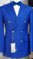 Ink Blue Super 150 Cerruti Double Breasted Wool Blazer With Brass Button